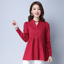 Spring New 2017 Slim Women Printing Long-sleeved Shirt Female 100% Cotton Long Large Size Blouse 6112A