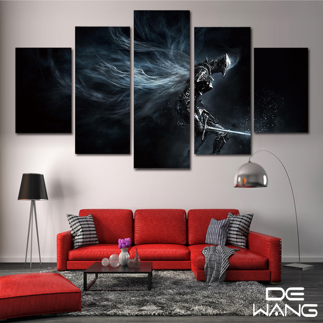 5 panel canvas art abstract set animal movie framed picture wall art home decorative dark souls print canvas poster oil painting in painting calligraphy