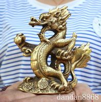 Christmas Chinese Fengshui Brass Yuanbao Money Coin Animal Dragon Play Bead Lucky Statue Halloween