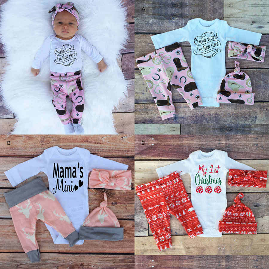 e5c370a7a Christmas 1st Birthday Outfits For Baby Boy Girl Set Clothes 4PCS Suit Kids  Wear Headbands+