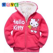 2018Retail Baby girls Cartoon Hello Kitty Winter fur coat children outerwear girls cotton thick warm hoodies