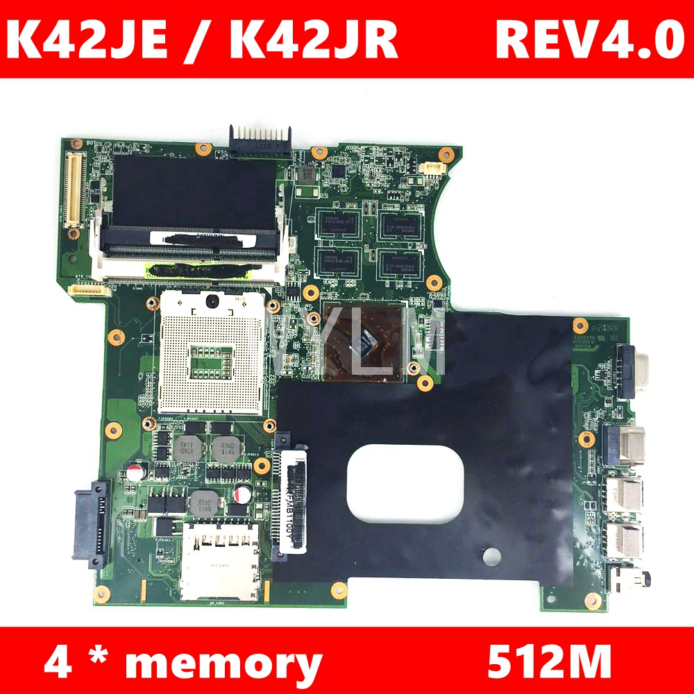 K42JR 512M Video Memory Mainboard REV4.0 For ASUS A42J X42J K42J K42JR K42JK K42JE K42JZ K42JY Laptop Motherboard Test 100% OK