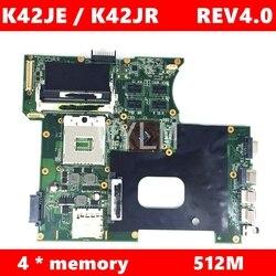 K42JR 512M Video pamięci płyty głównej płyta główna REV4.0 dla ASUS A42J X42J K42J K42JR K42JK K42JE K42JZ K42JY laptopa test płyty głównej 100% OK w Płyty główne od Komputer i biuro na