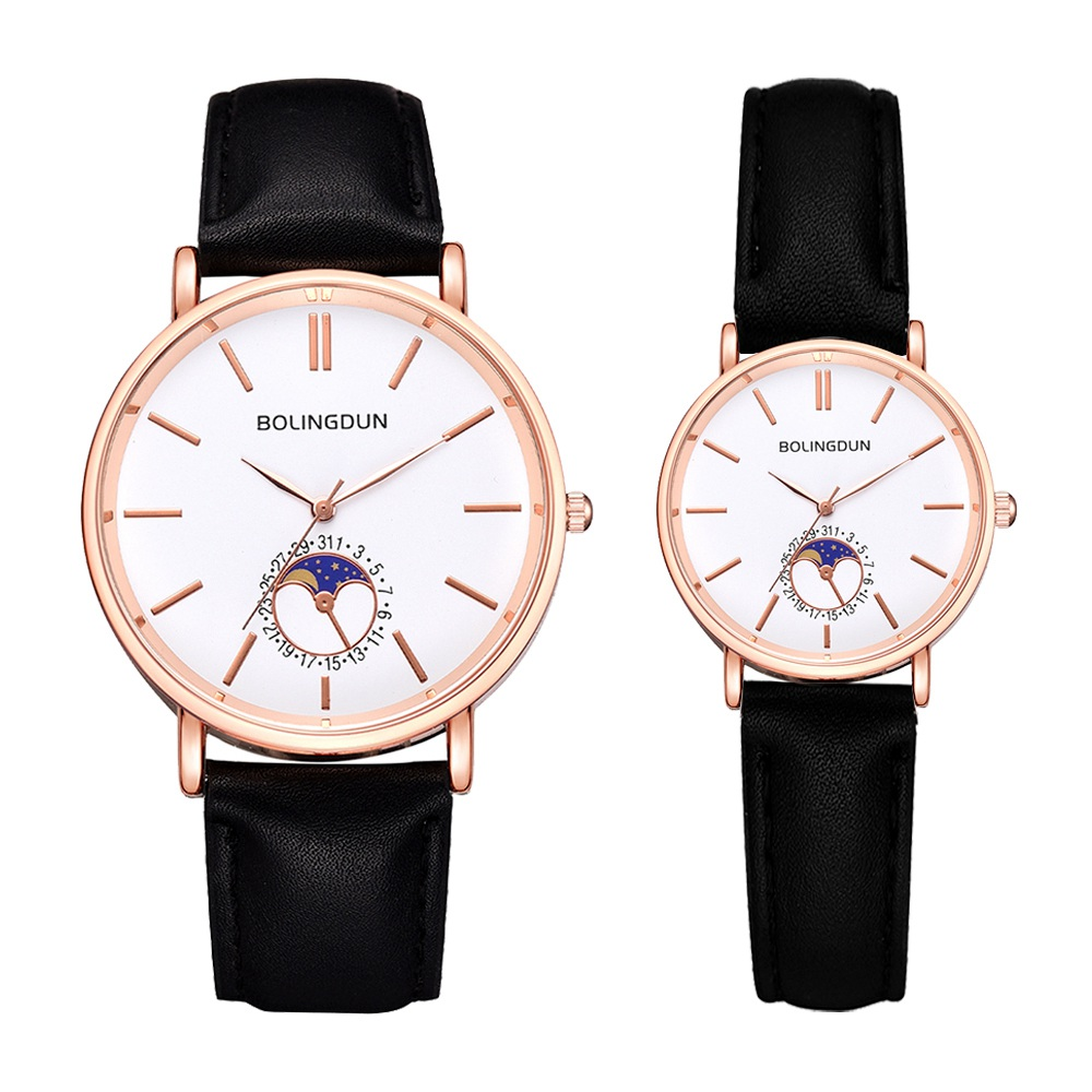 2PCS Set Fashion Leather Watches For Women & Men Simples Creative Sports Quartz Clock Ladies Casual Dress Wristwatch Reloj Mujer