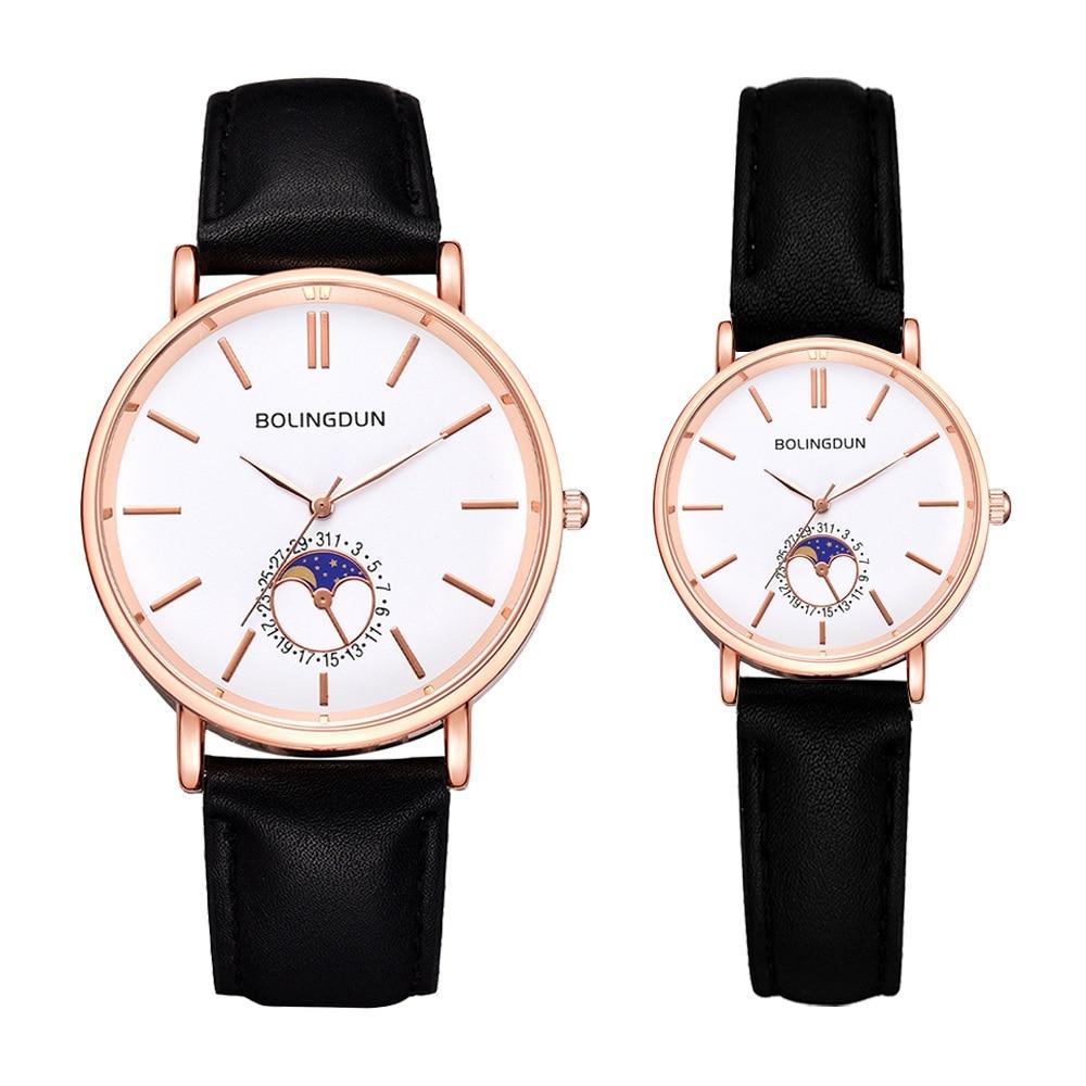 Fashion Leather Couple Watches For Women & Men Creative Sports Quartz Clock Set Ladies Casual Dress Wristwatch Reloj Mujer