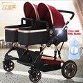 Los gemelos Cochecito de Bebé de Lujo De Moda Marco De Aluminio de Alta Paisaje Del Carro de Bebé Cochecito Doble Carro 2 Niño Asientos de Ancho 100 CM