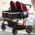 Twins Baby Stroller Luxury Fashionable Pram Aluminum Frame High-Landscape Baby Carriage Dual Trolley 2 Seats Kids Width 100CM