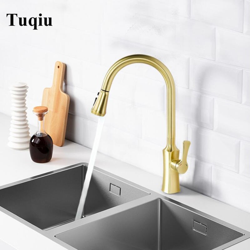 Kitchen Faucets Brushed Gold Torneira Para Cozinha De Parede Crane For Kitchen Water Mixer Tap Black Sink Mixer FaucetKitchen Faucets Brushed Gold Torneira Para Cozinha De Parede Crane For Kitchen Water Mixer Tap Black Sink Mixer Faucet