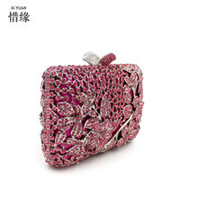 XIYUAN BRAND Fashion evening bags rhinestones clutch handbags crystal wedding party bag colourful purse New Valentine's Day gift(China)