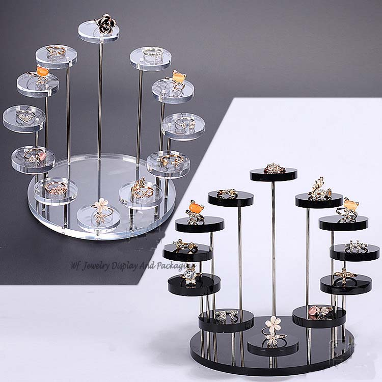 New Arrival 7 Layer Round Jewelry Display Desktop Earring Holder Ring Rack Shelf
