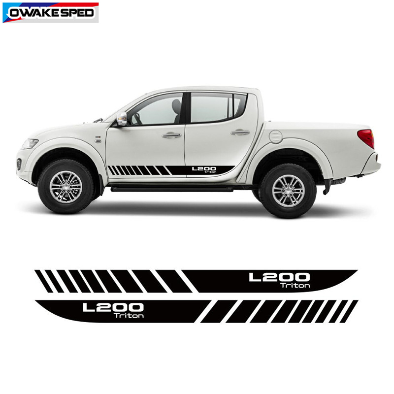 Racing Stripes For Mitsubishi L200 Triton Graphic Car Styling Door Side Skirt Decor Sticker Auto Accessories Body Vinyl Decal