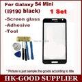 Envío gratuito negro para Samsung Galaxy S4 mini i9190 cristal LCD de pantalla táctil digitalizador pantalla táctil superior reemplazo de vidrio + herramientas