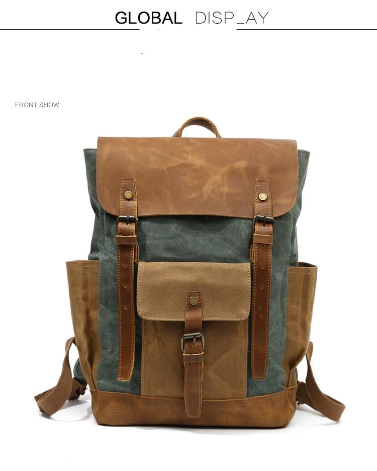 Retro Contrast Oil Wax Waterproof Canvas Bag Travel Backpack Computer Schoolbag Large Capacity Women Backpack 12