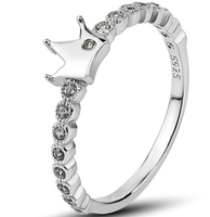 Solid 925 Sterling Silver Ring Crown Pave Setting Cubic Zirconia Diamond Silver Ring Set For Women