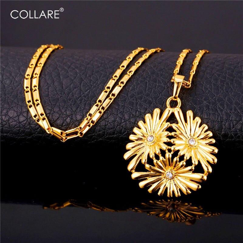 da2618ff5defd Collare كريستال زهرة الأقحوان قلادة الذهب فضي اللون حجر الراين المجوهرات  بالجملة هدية زهرة قلادة النساء P981