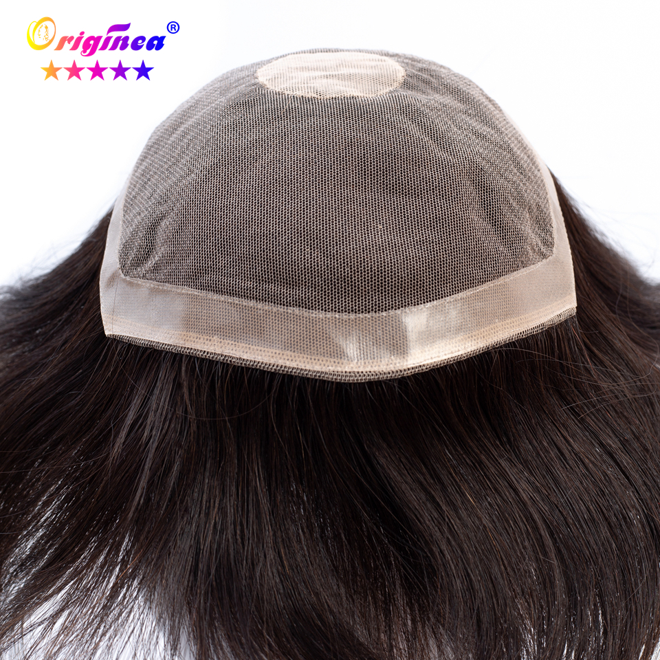 Originea Human Hair Toupee for Men 6 inch Hair 100% Brazilian Remy Human Hair Toupee Rep ...