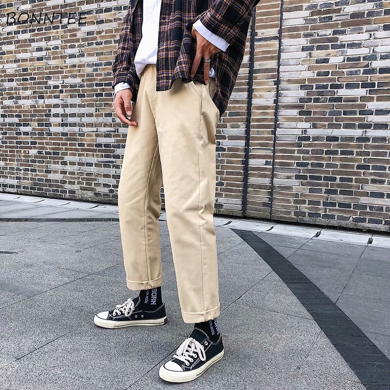 Pants Men Solid Leisure Loose Hot Sale Comfortable Mens High Quality Straight Pockets Males Korean Style Trousers Full Length