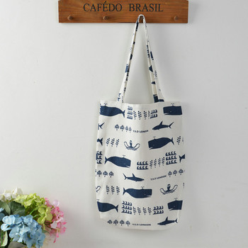 YILE 1 Layer NO lining Cotton Linen Shopping Tote Carrying Shoulder Bag Print Whale Octopus Sea Life 804