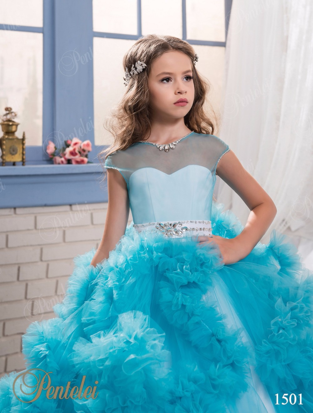 Mint Girls Pageant Dresses Glitz Pink Blue Purple Sheer Ruffles ...
