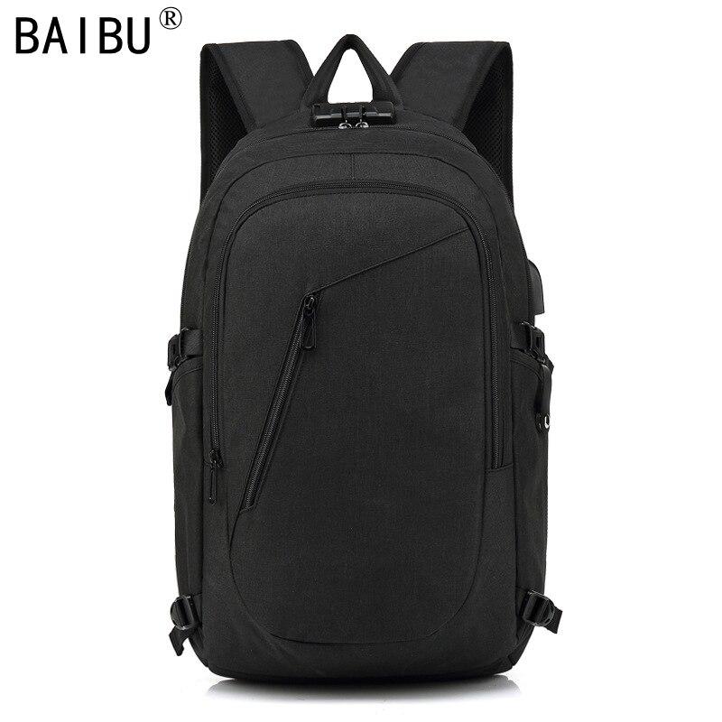 BAIBU Men design Anti-theft USB Charging Travel Backpack Men school bag Large 15.6 Laptop bag with Combination Lock 2018 2017 markryden men backpack student school bag large capacity trip backpack usb charging laptop backpack for14inches 15inches
