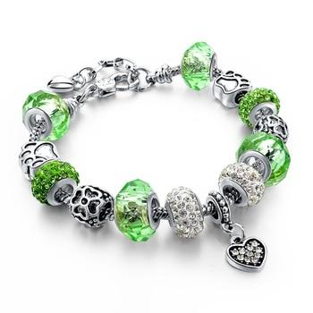 Women's Tibetan Silver Charm Bracelet Bracelets Jewelry Women Jewelry Metal Color: 056 green