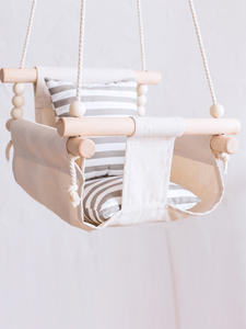 Toy Basket Swing-Chair Hanging Wood Canvas Kindergarten Outside Small Baby Children Indoor
