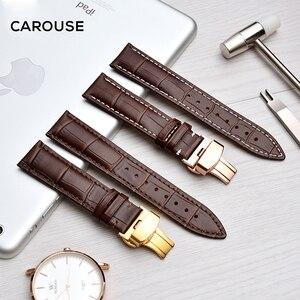 Image 4 - להתהולל רצועת השעון 18mm 19mm 20mm 21mm 22mm 24mm עגל עור להקת שעון פרפר אבזם רצועת צמיד אביזרי Wristbands