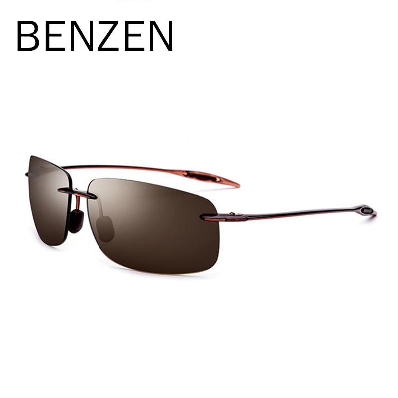 BENZEN haute qualité sans monture lunettes de soleil hommes Vintage ultraléger TR 90 lunettes de soleil pour homme UVA/UVB Nylon lentille lunettes noir 9357