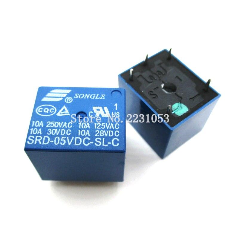 10pcs SRD-05VDC-SL-C PCB Type 5V Mini Power Relay