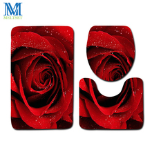 3pcs/set Bathroom Rose Carpet Mat Toilet Seat Cover Valentines Set Decorations Bath Shower WC Accessories