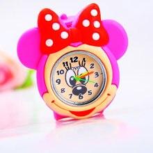Горячая Распродажа, Подарочные часы для девочек с рисунком Минни, разноцветные высококачественные кварцевые часы с силикагелем для детей и студентов