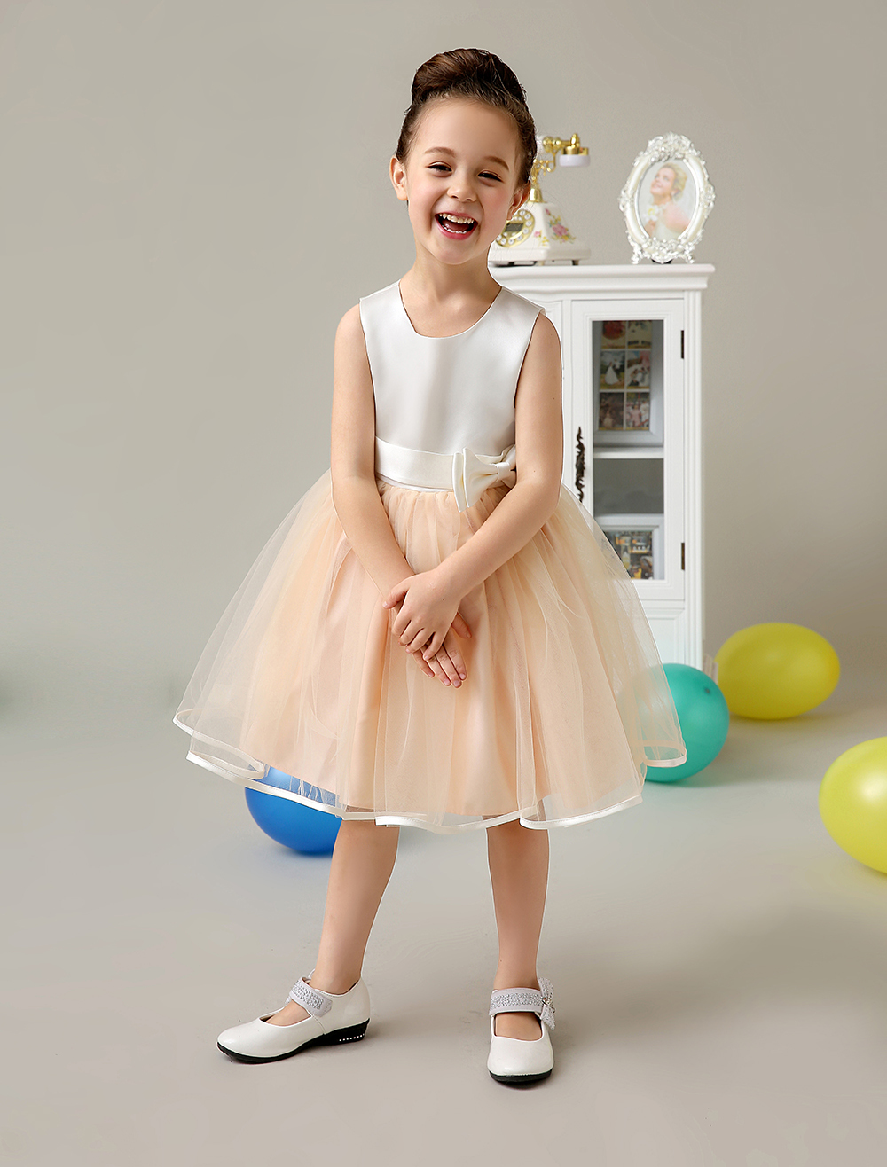 A line Satin And Tulle pink little girls dresses with sash bowknot Children Pageant Dresses kids