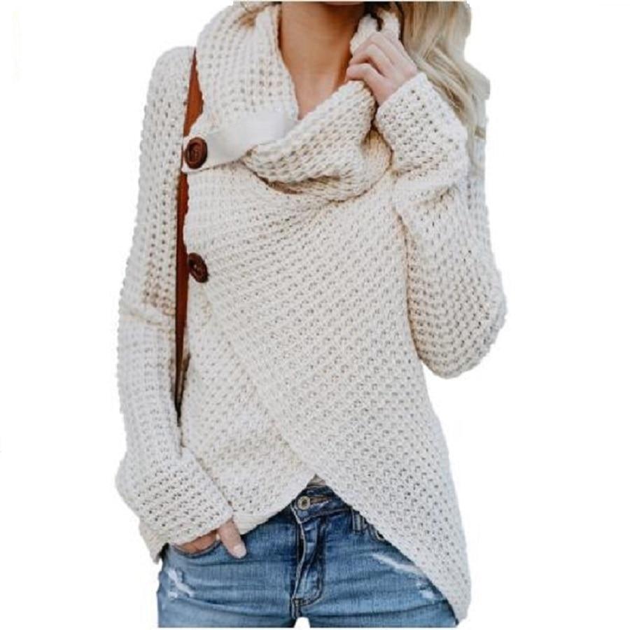 100% Wahr Frauen Pullover Lange Hülse Herbst Damen Pullover Stricken Unregelmäßige Taste Pullover Plus Größe Schal Kragen Weibliche Gestrickte Tops Mild And Mellow