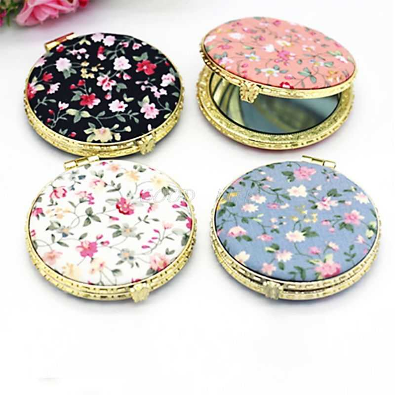Mini Round Pocket Folding Makeup Mirror Vintage Double Sides Floral Printed Chinese Style Compact Cosmetic Tool Portable Gift