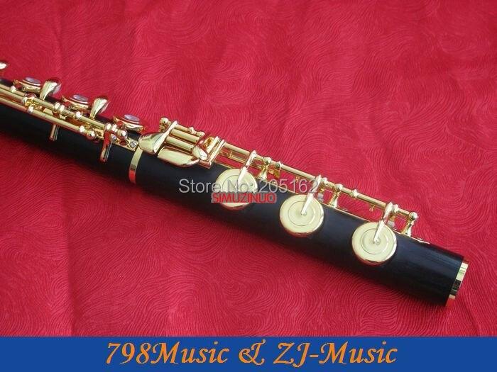 Berlapis emas L Blackwood Grenadilla Afrika Flute-B kaki-Open - Alat-alat musik - Foto 4