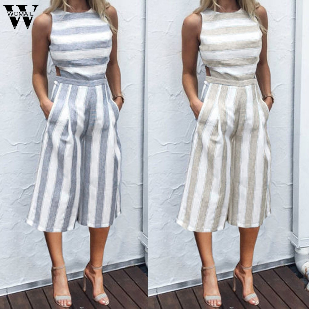 Womail bodysuit Women Summer Sleeveless Strip   Jumpsuit   Casual   Jumpsuit   Clubwear Wide Leg Pant Outfit Fashion 2019 dropship f28