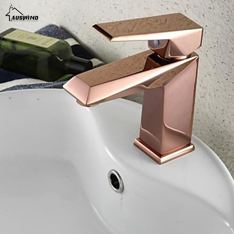 Basin Faucet Electroplate Rose Gold Kitchen Faucet Square Single Handle Single Hole Mixer Taps Hot Cold Water Deck Mounted WE521 basin faucets deck mounted gold faucet for bathroom single handle single hole basin mixer tap hot and cold water taps al 7318k