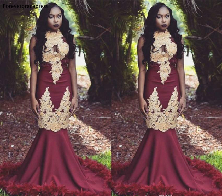 Sexy Burgundy   Prom     Dresses   2019 South African Black Girls Mermaid Holidays Graduation Wear Party Gowns Plus Size Custom Made
