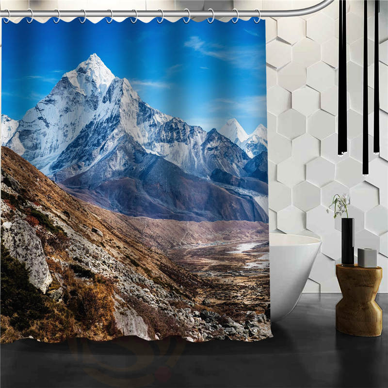 Custom The beauty of the mountain Printed Bathroom Waterproof Polyester fabric Shower Curtain