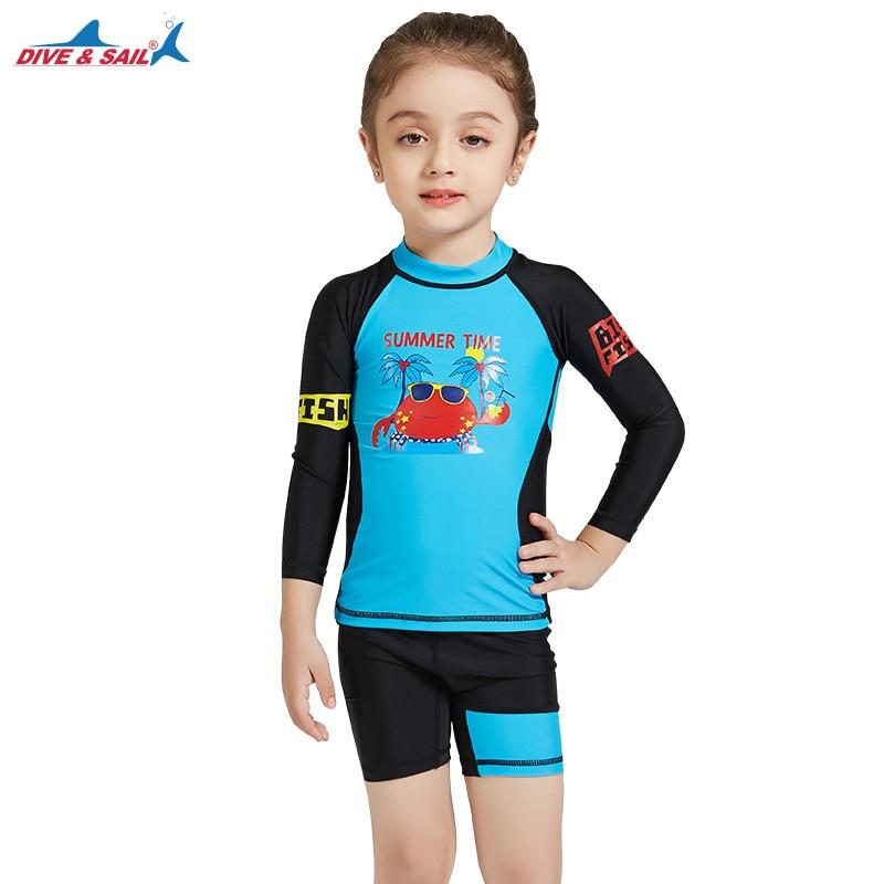 501bc51136 Girls Kids Toddler Two Piece Round-Neck Rash Guard UV Sun Protection  Swimsuit 2 piece Set Long Sleeve Blue/Black Boys UPF50+