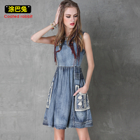 CR Summer Style Denim Dress Women 2018 Fashion Sleeveless Vintage Pockets Tank Dresses Casual Jeans Dress