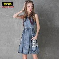 CR Summer Style Denim Dress Women 2018 Fashion Sleeveless Vintage Pockets Tank Dresses Casual Jeans Dress