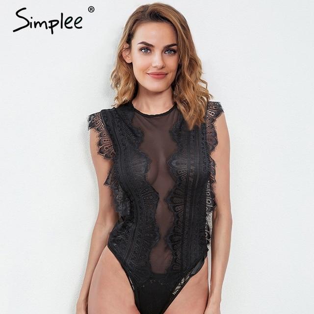 Simplee Sexy mesh lace bodysuit Women hollow out black bodysuit party  Sleeveless transparent slim bodysuit lingerie cd2546064305