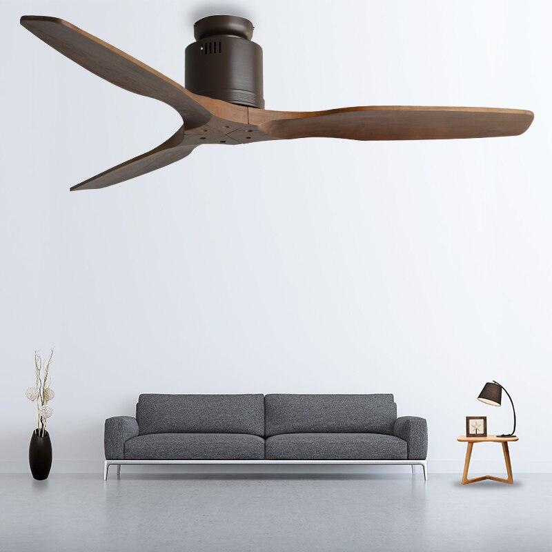 Ventilador De Techo De madera De 52 pulgadas, Ventilador De Techo con Control remoto, Ventilador Retro sin luz, Ventilador De Techo ahorrador De energía