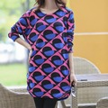 2017 Mulheres outono inverno casual tops & t t camisa Solta de manga comprida plus size moda Impresso pullover túnica