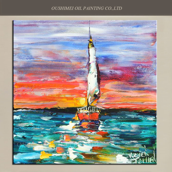 Hand-painted Abstract Oil Painting Sunset Sailing Modern Palette Knife Impressionism Oil Picture on Canvas Fine Art Wall Decor