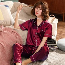 Весенние женские сексуальные атласные шелковые пижамы, наборы, женские топы с коротким рукавом+ длинные штаны, одежда для сна, женская пижама