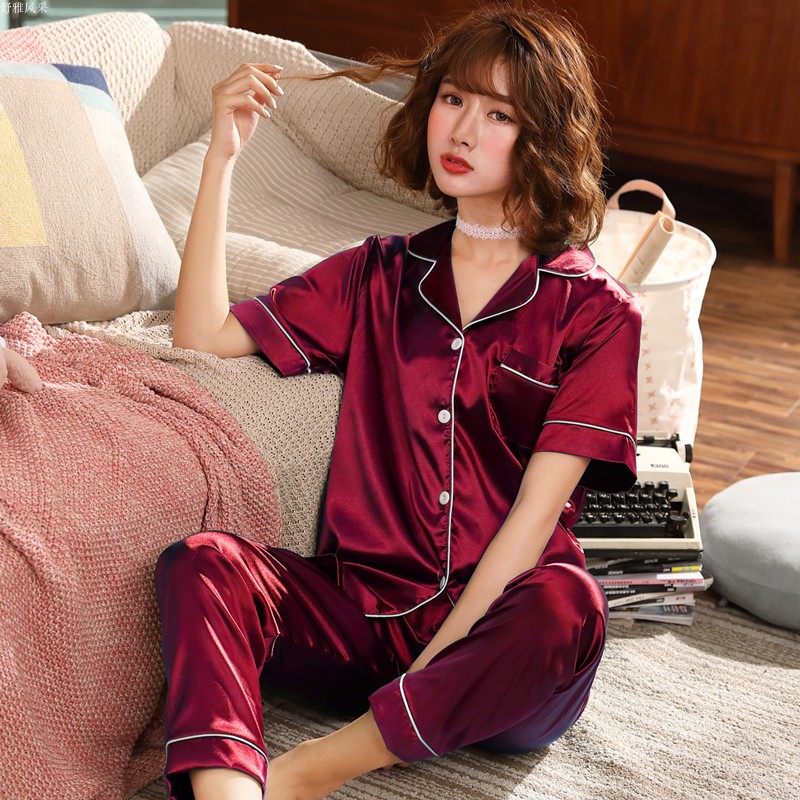 2019 Spring Women Sexy Satin Silk   Pajamas     Sets   Ladies short Sleeve Tops+long Pants Sleepwear Mujer Nightwear Pyjama Femme