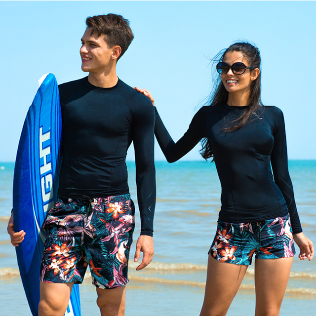 ac55d9f905 couples beach honeymoon vacation swimwear trend floral print women men  swimsuit sunga surf swim trunk boxer shorts quick dry