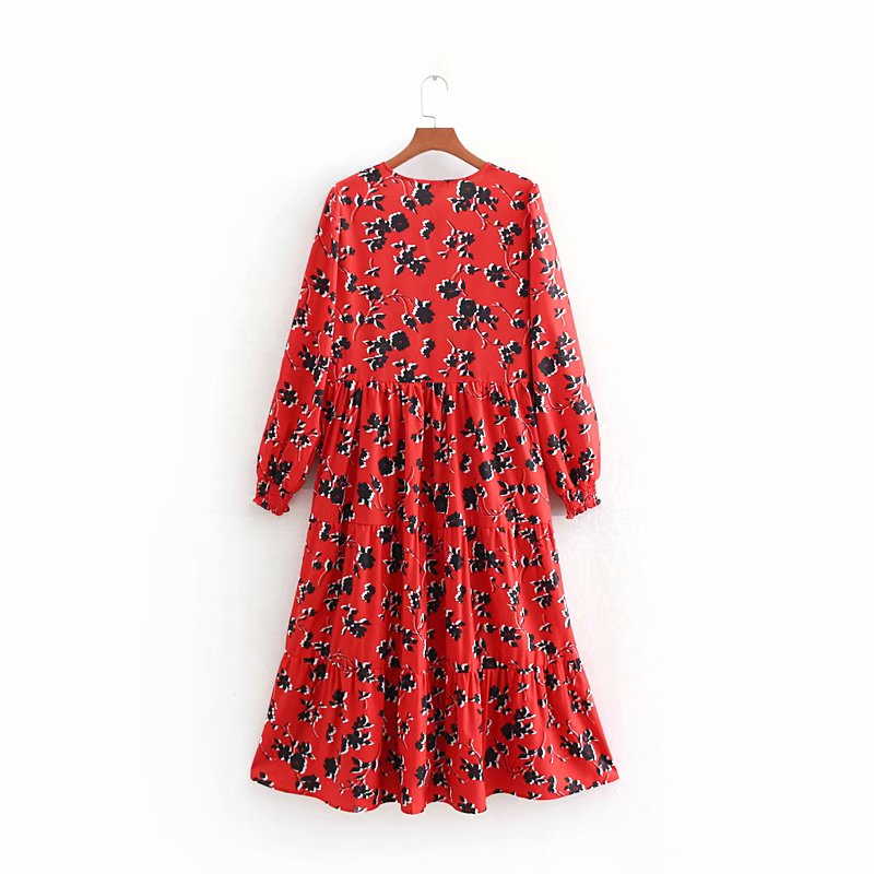 19 women fashion floral print red long dress ladies o neck pleated big swing chic vestidos retro brand party dresses DS1897 4